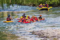 RAFTING E HYDROSPEED O RIVERBOARDING O COOL RIVER EN EL RIO ATUEL, VALLE GRANDE, SAN RAFAEL, PROVINCIA DE MENDOZA, ARGENTINA (PHOTO BY &copy; MARCO GUOLI - ALL RIGHTS RESERVED)<br /> <br /> Riverboarding is a boardsport in which the participant lies prone on their board with fins on their feet for propulsion and steering. This sport is also known as hydrospeed in Europe and as riverboarding or white-water sledging in New Zealand, depending on the type of board used.[1][2] Riverboarding includes commercial, recreational and the swiftwater rescue practice of using a high-flotation riverboard, designed for buoyancy in highly aerated water (Wikipedia).