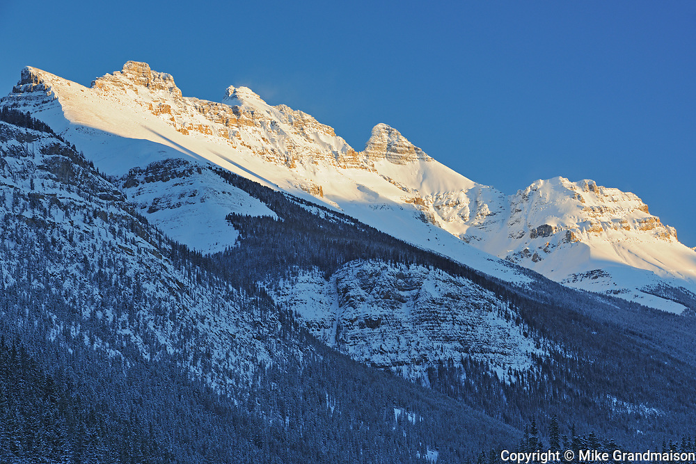 The Canadian Rocky Mountains along the Icefields Parkway  in evening light, Banff National Park, Alberta, Canada