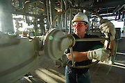 Oil and gas worker on an offshore platform.