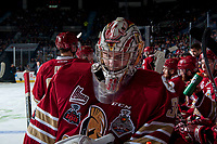 REGINA, SK - MAY 19: Evan Fitzpatrick #31 of Acadie-Bathurst Titan stands at the boards during a time out against the Swift Current Broncos at the Brandt Centre on May 19, 2018 in Regina, Canada. (Photo by Marissa Baecker/CHL Images)