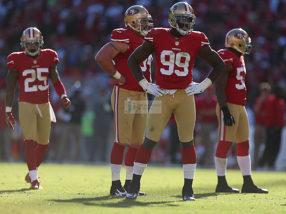 San Francisco 49ers linebacker Aldon Smith (99) looks on against the St. Louis Rams , Sunday, Nov. 11, 2012 at Candlestick Park, in San Francisco, Ca. (AP Photo/Jed Jacobsohn)