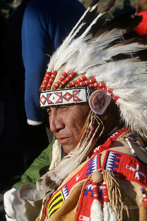 Chief Arvol Looking Horse attends a ceremony at the Shambala Center in northern Colorado to meet with the Dalai Lama, 2006.
