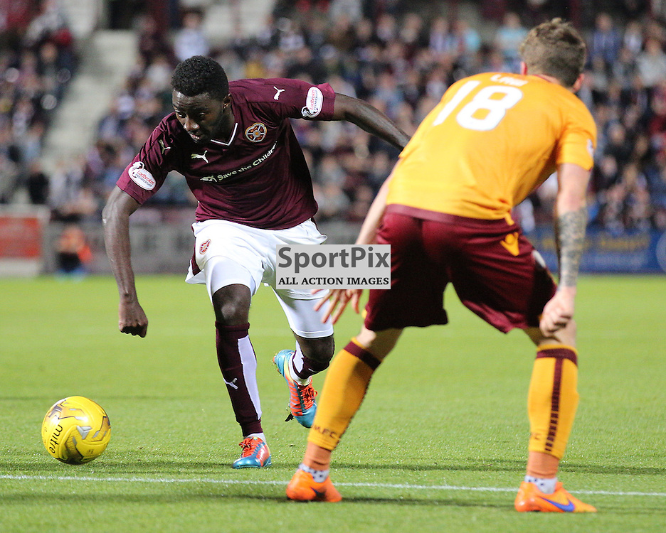 Hearts v Motherwell Scottish Premiership 12 August 2015; Prince Buaben Abankwah (Hearts, 8) during the Heart of Midlothian v Motherwell Scottish Premiership match played at Tynecastle Stadium, Edinburgh; <br /> <br /> &copy; Chris McCluskie | SportPix.org.uk
