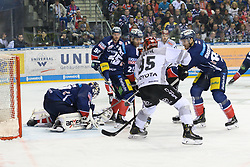 01.03.2019, O2 World, Berlin, GER, DEL, Eisbaeren Berlin vs Koelner Haie, 52. Runde, im Bild Spielszene vor dem Tor der Eisbaeren, v.l. Kevin Poulin - Eisbaeren, Constantin Braun - Eisbaeren, Michael DuPont - Eisbaeren, Fabio Pfohl #95 - Haie, James Sheppard - Eisbaeren // during the DEL 52th round match between Eisbaeren Berlin and Koelner Haie at the O2 World in Berlin, Germany on 2019/03/01. EXPA Pictures © 2019, PhotoCredit: EXPA/ Eibner-Pressefoto/ Uwe Koch<br /> <br /> *****ATTENTION - OUT of GER*****