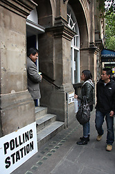 © under license to London News Pictures. 05/052011. Members of the Chinese Community, China Town, Soho, London are met and greeted by a teller at Charing Cross Library, Charing Cross, London as they cast their vote in the AV election Thursday 5th May 2011.Picture credit should read: Kevin Dunnett / London New Pictures