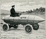 Camille Jenatzy (1868-1913) in his aluminium battery-driven electric car 'La Jamais Contente', 1899.