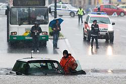 Car stuck in the water after heavy rain on September 17, 2010, in Ljubljana, Slovenia. (Photo by Matic Klansek Velej / Sportida)