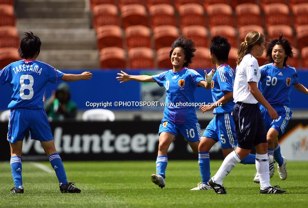 Mana Iwabuchi celebrates her goal for Japan.<br />FIFA U17 Women's World Cup, England v Japan, Waikato Stadium, Hamilton, New Zealand, Sunday 9 November 2008. Photo: Renee McKay/PHOTOSPORT