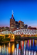 Nashville city skyline at dusk, Tennessee, USA.