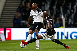 Andre Wisdom of Derby County takes on Neeskens Kebano of Fulham - Mandatory by-line: Robbie Stephenson/JMP - 11/05/2018 - FOOTBALL - Pride Park Stadium - Derby, England - Derby County v Fulham - Sky Bet Championship