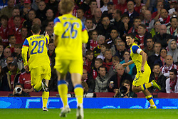 LIVERPOOL, ENGLAND - Thursday, September 16, 2010: FC Steaua Bucuresti's Cristian Tanase celebrates scoring the equalising goal against Liverpool during the opening UEFA Europa League Group K match at Anfield. (Photo by David Rawcliffe/Propaganda)