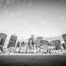 Charlotte skyline black and white photo with Romare Bearden Park and downtown Charlotte city buildings. Charlotte, North Carolina is a major city in the Eastern United States of America.