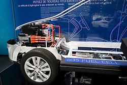 Detail of cut-away of hydrogen fuel cell concept  Hyundai ix35 car at Paris Motor Show 2012