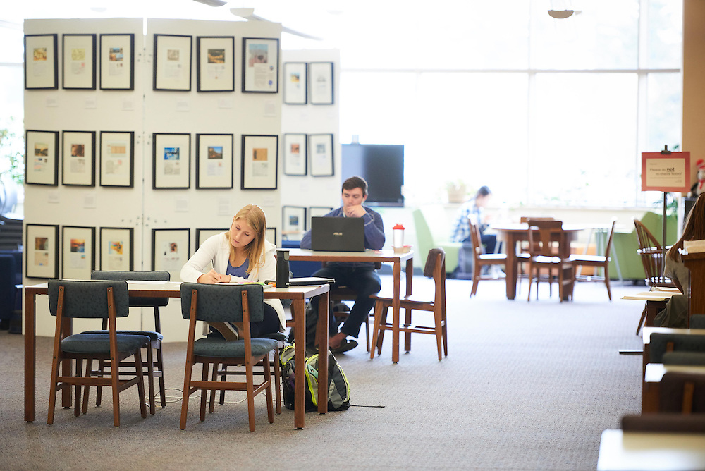 Activity; Studying; Buildings; Murphy Library; Location; Inside; UWL UW-L UW-La Crosse University of Wisconsin-La Crosse; Time/Weather; day; Spring; April; People; Woman Women; Man Men; Student Students