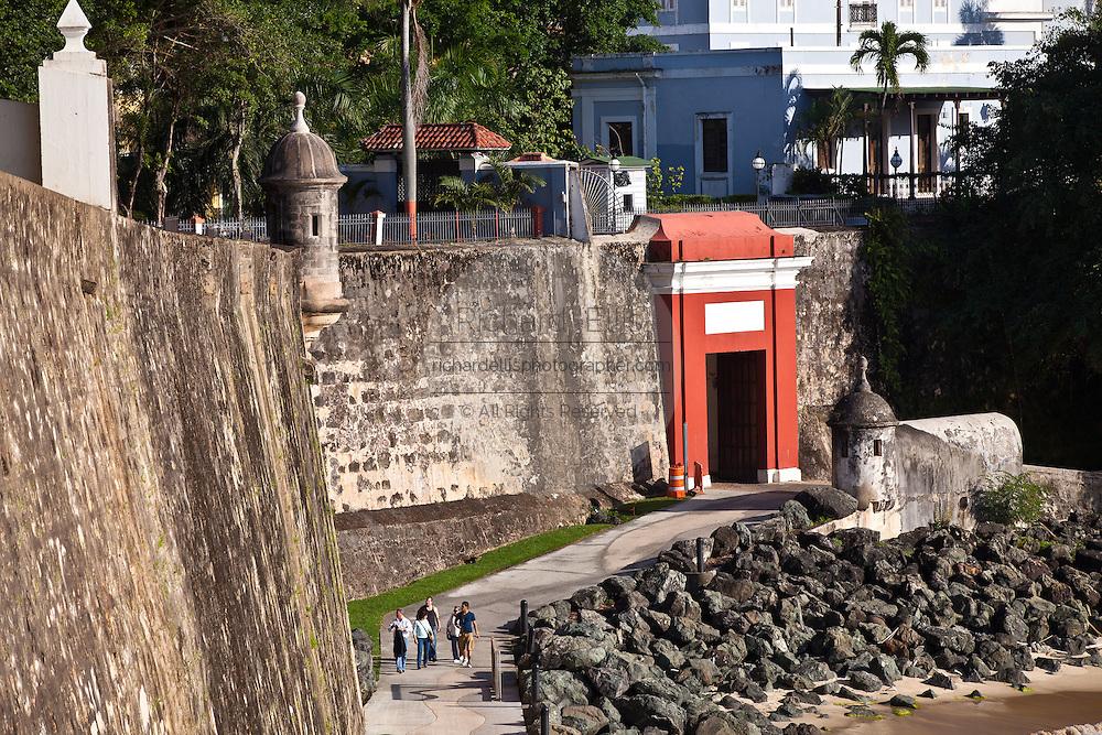 San Juan Gate along the Paseo de la Princesa Old San Juan, Puerto Rico.