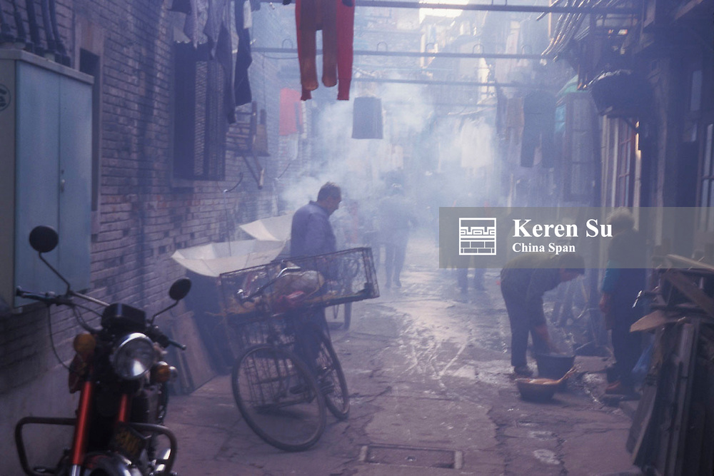 Morning scene in an alley of traditional residential area, Shanghai, China