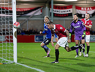Tom Greaves of FC United of Manchester watches the ball go just past the post during the FA Cup match at Broadhurst Park, Moston<br /> Picture by Russell Hart/Focus Images Ltd 07791 688 420<br /> 09/11/2015