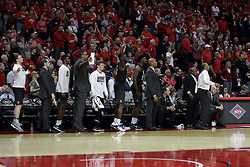 20 March 2017:  Knights bench celebrates during a College NIT (National Invitational Tournament) 2nd round mens basketball game between the UCF (University of Central Florida) Knights and Illinois State Redbirds in  Redbird Arena, Normal IL