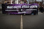 Frankfurt | 25 February 2017<br /> <br /> Am Samstag (25.02.2017) nahmen etwa 1000 Menschen in Frankfurt am Main an einer linksradikalen Demonstration unter dem Motto &quot;Make Racists Afraid Again&quot; Teil. Die Demo begann am S&uuml;dbahnhof in Frankfurt-Sachsenhausen und endete am Willy-Brandt-Platz. Organisiert wurde der Aufmarsch von dem B&uuml;ndnis &quot;Antifa United Frankfurt&quot;.<br /> Hier: Fronttransparent der Demo.<br /> <br /> photo &copy; peter-juelich.com