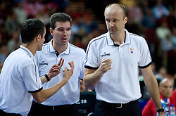 Assistant coach of Slovenia Miro Alilovic, Assistant coach of Slovenia Tomo Mahoric and Head coach of Slovenia Jure Zdovc during the EuroBasket 2009 Semi-final match between Slovenia and Serbia, on September 19, 2009, in Arena Spodek, Katowice, Poland. Serbia won after overtime 96:92.  (Photo by Vid Ponikvar / Sportida)