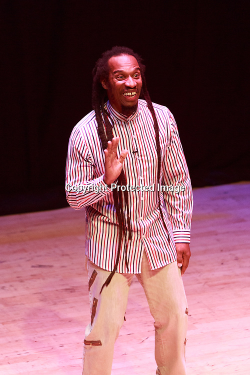 Edinburgh, Scotland. UK. 8 June 2018. Benjamin Zephaniah performs on stage at The Queen's Hall, Edinburgh. Benjamin Zephaniah promote his new book called The Life and Rhymes of Benjamin Zephaniah. Pako Mera