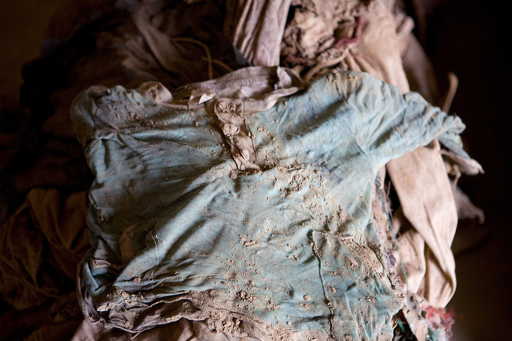 Detail of clothing from victims of Nyamata Church massacre