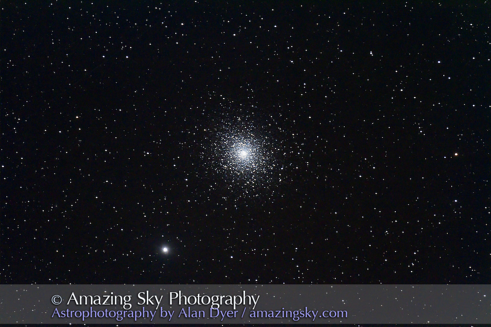 Messier 5 globular cluster in Serpens taken July 31, 2011 from home with 130mm Astro-Physics refractor and Canon 7D camera, for stack of 4 x 5 minute exposures at ISO 800 and f/6. Some trailing. Object was low in southwest.