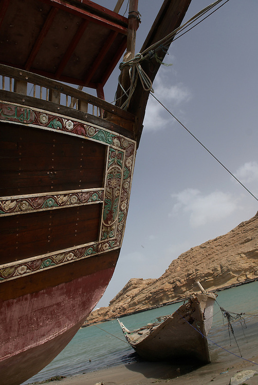Oman, Sur. February/02/2008...The colorful designs on the back of a traditional Dhow, built in the village of Sur.