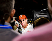 Clemson Tigers Tigers coach Dabo Swinney, interviewed by ESPN after a huge win over the Notre Dame Fighting Irish in the NCAA Cotton Bowl semi-final playoff football game, Saturday, Dec. 29, 2018, in Arlington, Texas. Clemson defeated Notre Dame 30-3 to advance to the College Football Playoff national Championship. (Mario Terrana/Image of Sport via AP)