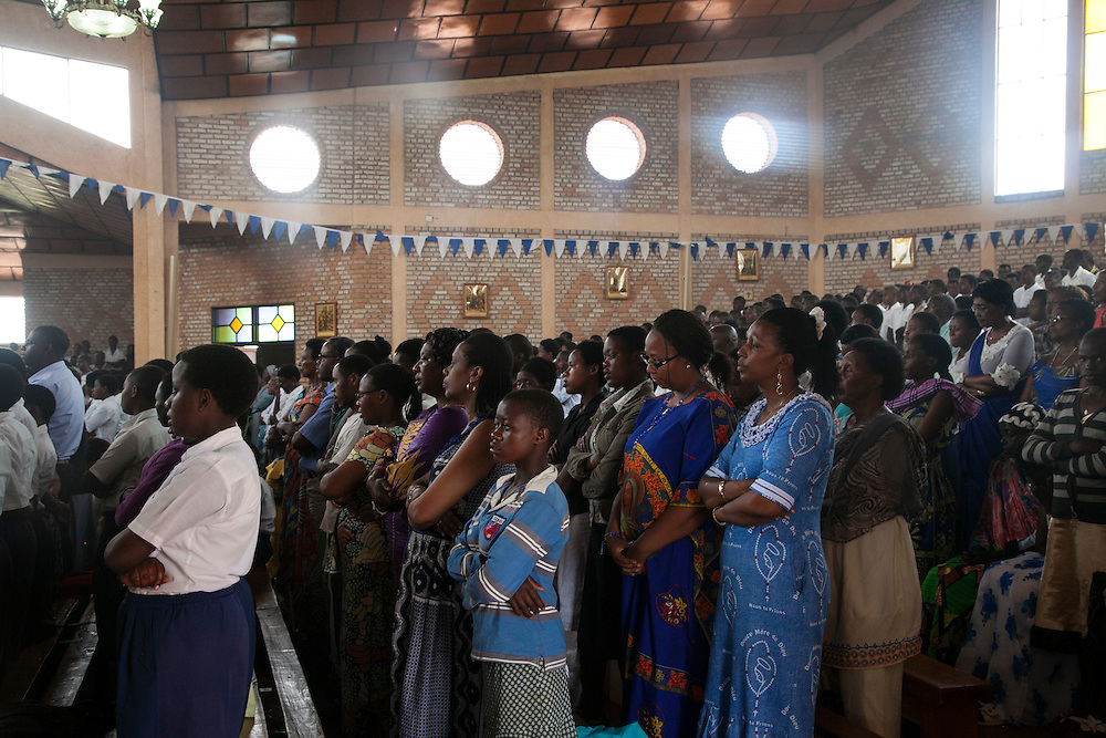 Mass at The Shrine of Our Lady of Sorrows in Kibeho, Rwanda, on Sunday, October 26, 2014. This is the only sanctioned Marian sanctuary in Africa. Kibeho's overseers and the Rwandan government hope this place will become a top tourism site. The Virgin Mary appeared here in 1981to three young women, one of whom still lives near the church grounds.<br /> <br /> Photo by Laura Elizabeth Pohl