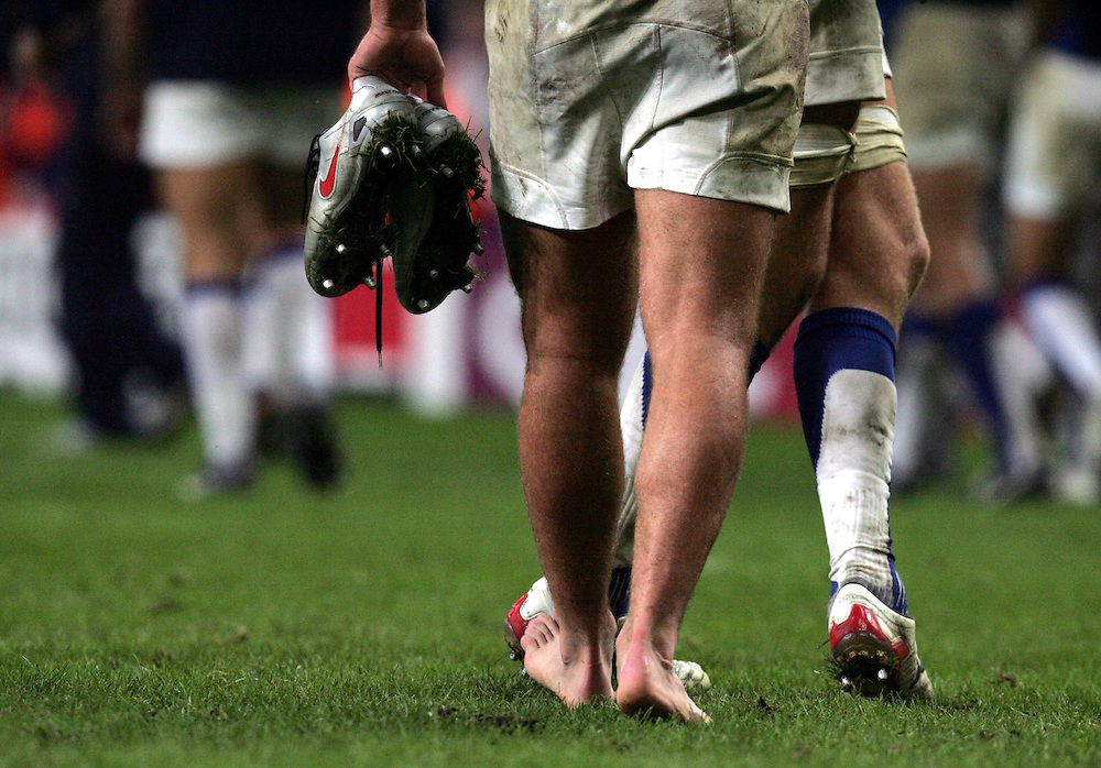 A barefooted Cedric Heymans celebrates after the game. France v New Zealand, Quarter Final 2, IRB Rugby World Cup 2007, Millenium Stadium, Cardiff, Wales, 6th October 2007.
