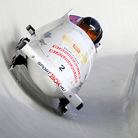 01 March 2009:    The Russia 1 bobsled driven by Alexsandr Zubkov with sidepushers Roman Oreshniko and Dmitry Trunenkov, and brakeman Dmitry Stepushkin drives through turn 19 in the 3rd run at the 4-Man World Championships competition on March 1 at the Olympic Sports Complex in Lake Placid, NY.   The USA 1 bobsled driven by Steven Holcomb with sidepushers Justin Olsen and Steve Mesler, and brakeman Curtis Tomasevicz won the competition and the World Championship bringing the U.S. their first world championship since 1959 with a time of 3:36.61.   The Russian sled finished in 4th place.