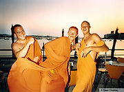 Group wearing orange monk robes Ibiza 1999