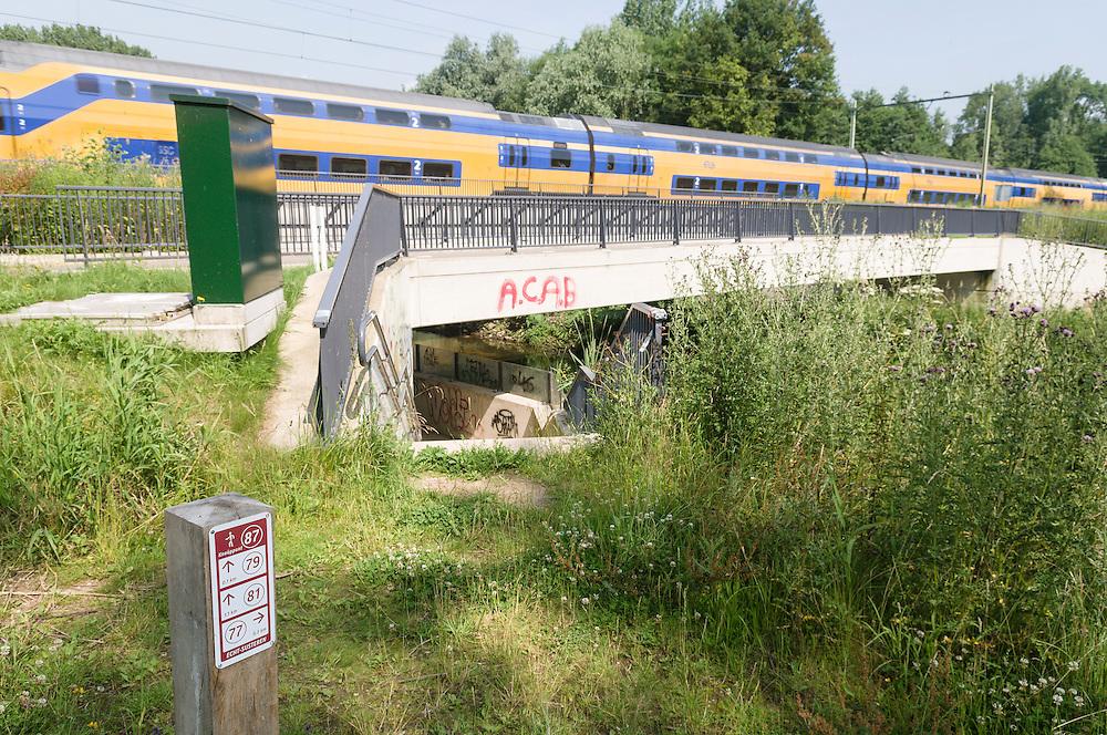 Nederland, Susteren, 20130706.<br /> Het ecoduct Vloedgraaf bij Susteren over de beek de Vloedgraaf en onder het spoor.<br /> Doel een beschermde oversteek aan tientallen bijzondere diersoorten te bieden  en de ecologische versnippering te verminderen en te zorgen dat geisoleerde leefgebieden blijvend met elkaar worden verbonden.<br /> Onder de spoorbrug is een twaalf meter brede faunapassage aangelegd die de natuurgebieden IJzerenbosch en t Hout met elkaar verbindt. Dieren als ree&Icirc;n, eekhoorns en kikkers krijgen hierdoor een veel groter leefgebied. De Vloedgraaf is het eerste MJPO project dat door ProRail is afgerond.<br /> Naast het ecoduct is een fietspad en een wandelpad aangelegd<br /> Meerjarenprogramma ontsnippering (MJPO) <br /> Netherlands, Susteren, 20130706. <br /> The ecoduct Vloedgraaf