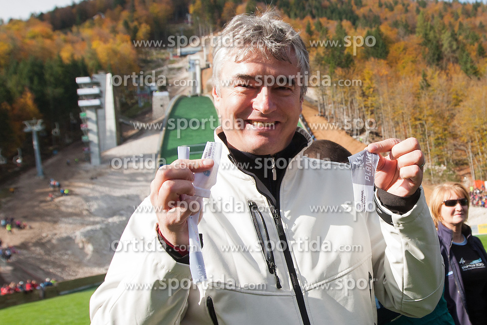 Milan Zver, candidate for Slovenian president elections, during Slovenian summer national championship and opening of the reconstructed Bloudek's hill in Planica on October 14, 2012 in Planica, Ratece, Slovenia. (Photo by Grega Valancic / Sportida)