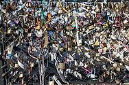 France. Paris 5th district. Archeveche bridge.  love locks . on the  seine river  beetween left bank and ile de la cite  / cadenas d amour sur le  le pont de l archeveche sur la seine entre l ile de la cite et la rive gauche