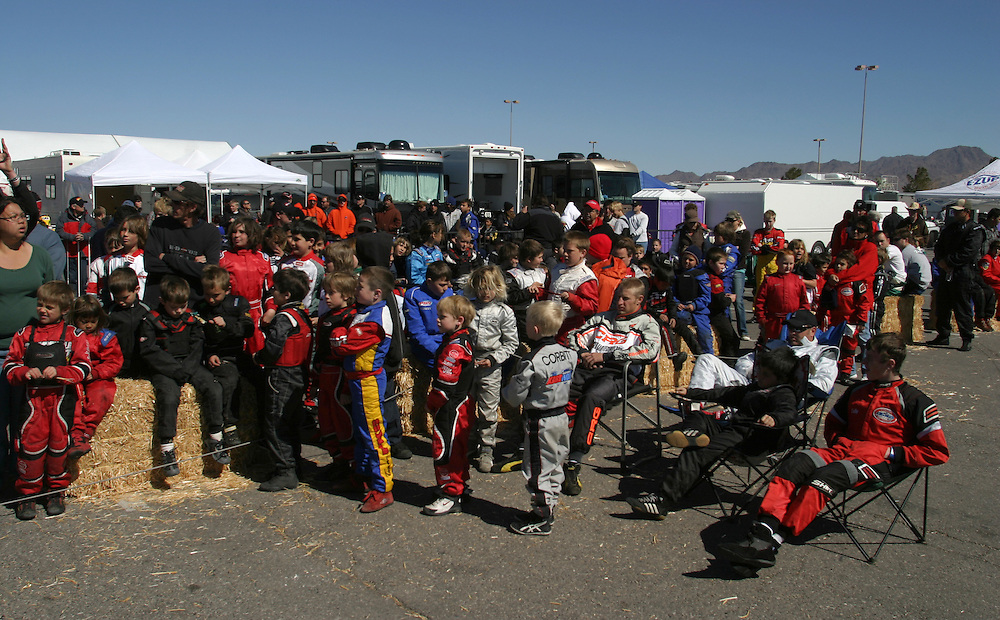 All the young go  kart  drivers gatherers to have a instruct for the International Karting Federation race...Prim Nevada Saturday march 3 .2007.......
