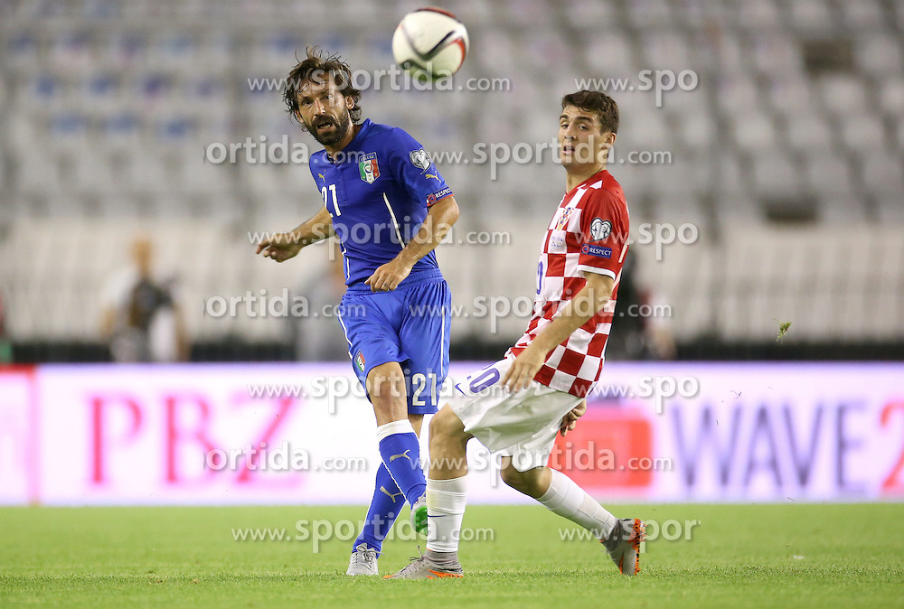 12.06.2015, Stadion Poljud, Split, CRO, UEFA Euro 2016 Qualifikation, Kroatien vs Italien, Gruppe H, im Bild Andrea Pirlo, Mateo Kovacic // during the UEFA EURO 2016 qualifier group H match between Croatia and and Italy at the Stadion Poljud in Split, Croatia on 2015/06/12. EXPA Pictures &copy; 2015, PhotoCredit: EXPA/ Pixsell/ Igor Kralj<br /> <br /> *****ATTENTION - for AUT, SLO, SUI, SWE, ITA, FRA only*****
