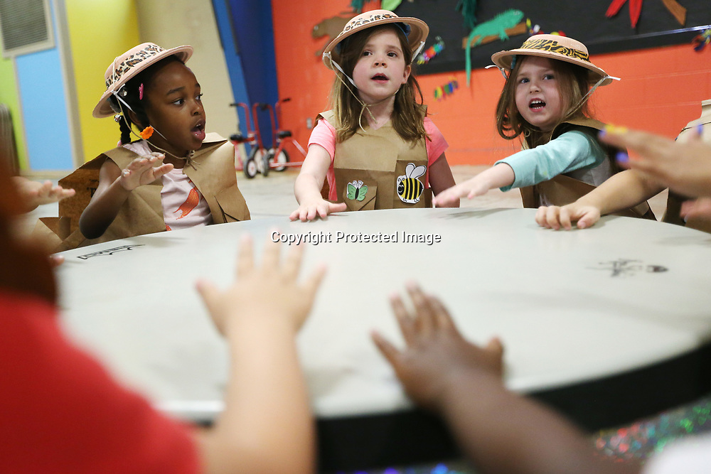 ECEC students Shyla Robinson, from left, Brooke McAlpin and Evelyn Maltby rehearse their Jungle Beats performance with their classmates Monday morning at the school.