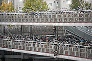 Bicycle parking garage or Fietsflat at the Central Station in Amsterdam.
