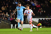 Coventry City defender Chris Stokes (3) sprints forward with the ball during the The FA Cup 4th round match between Milton Keynes Dons and Coventry City at stadium:mk, Milton Keynes, England on 27 January 2018. Photo by Dennis Goodwin.