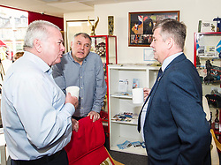 EMBARGOED UNTIL 00:01 2 APRIL 2017<br /> <br /> Pictured:Bruce Smith, director and acting chairman of the centre and Jim Horseburgh, ex-RAF, on his last day at the center chatted to Mr Brown. <br /> During his visit to the Lothians Veteran Centre in Dalkeith on Friday 31 March, Veterans Secretary Keith Brown  announced the successful applicants to the 2017 Scottish Veterans Fund.<br /> The Lothians Veteran Centre provides a person-centred support service for ex-service personnel and their families across Lothians, including projects relating to housing, benefits & welfare, and employment, education and training support.<br /> <br /> Ger Harley | EEm 31 March 2017