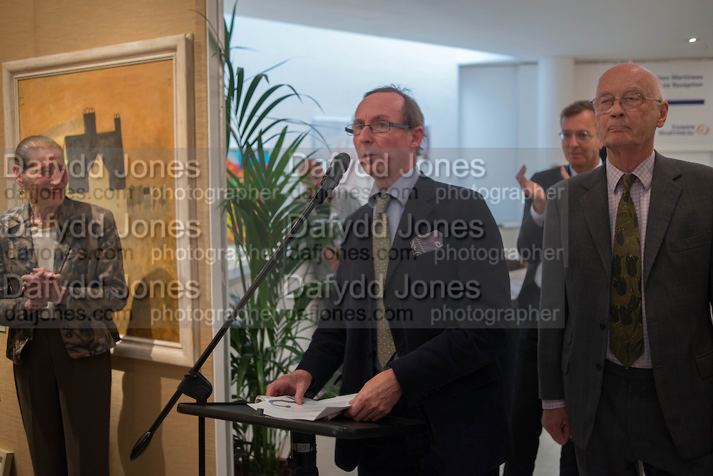 ANGELA WYNN; A.N. WILSON; CHRISTOPHER MALLABY; , 20/21 British Art Fair. Celebrating its 25 Anniversary. The Royal College of Art . Kensington Gore. London. 12 September 2012.