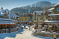 Whistler Village is bright and clear on a sunny winter day, Whistler, BC Canada