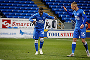 Peterborough United midfielder Siriki Dembele (10) and Peterborough United midfielder Joe Ward (15) celebrate Dembele's goal during  the The FA Cup 2nd round match between Peterborough United and Bradford City at London Road, Peterborough, England on 1 December 2018.