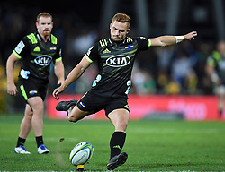 Hurricanes Ihaia West converts against  penalty against the Sharks in the Super Rugby match at McLean Park, Napier, New Zealand, Friday, April 06, 2018. Credit:SNPA / Ross Setford