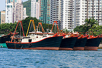 Fishing boats moored in Aberdeen fishing village Hong Kong Hong Kong August 2008
