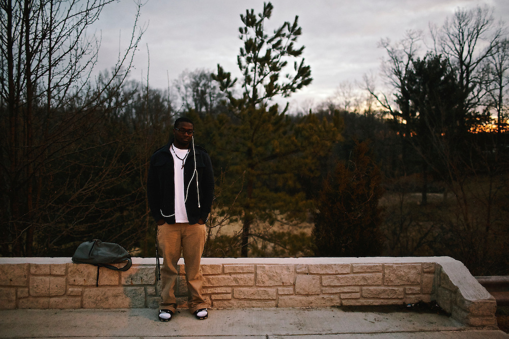 Kenneth Okorafor, 26, waits for a bus to take him to Silver Spring, MD where he attends class at Montgomery College. Okorafor, who is from Nigeria, has lived with his sister and her family in the United States since 2000. He plans on returning to Nigeria after he graduates.