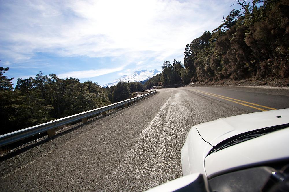 Driving up the access road to ski field Turoa. Turoa is located on active volcano Mount Ruapehu, New Zealand.