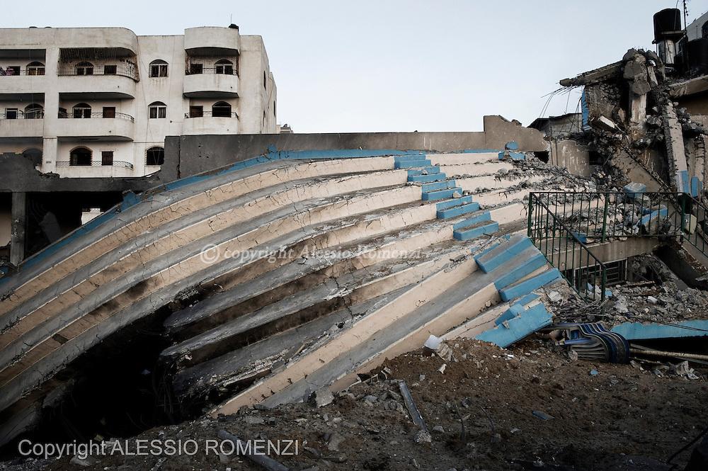 Gaza City: Damaged stand seats after Israeli air strike in Gaza City. November 19, 2012. ALESSIO ROMENZI